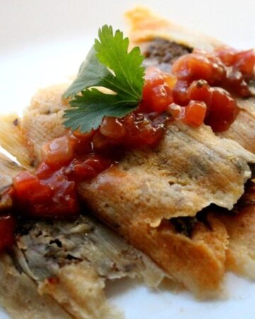 Beef tamales on a white plate topped with red salsa and a cilantro leaf.