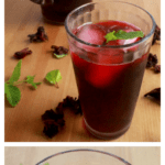 A collage showing Agua de Jamaica in different angles.