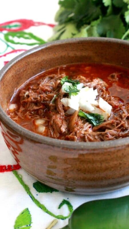 Birria de Res, or Mexican Beef Stew, in a brown bowl topped with chopped onions and cilantro.