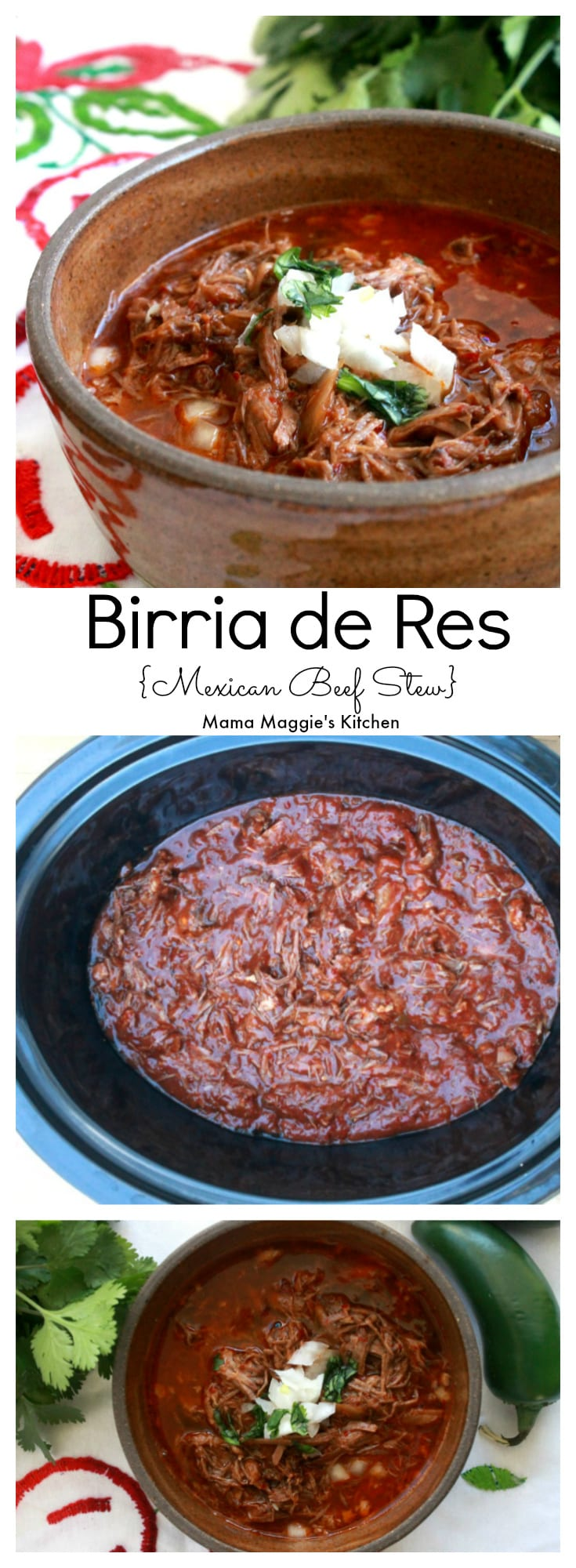 A big bowl of Birria de Res, or Mexican Beef stew, is the ultimate comfort food. Deep robust Mexican Food flavors that will make your tastebuds very happy. With Video and step-by-step pictures. Enjoy! by Mama Maggie's Kitchen