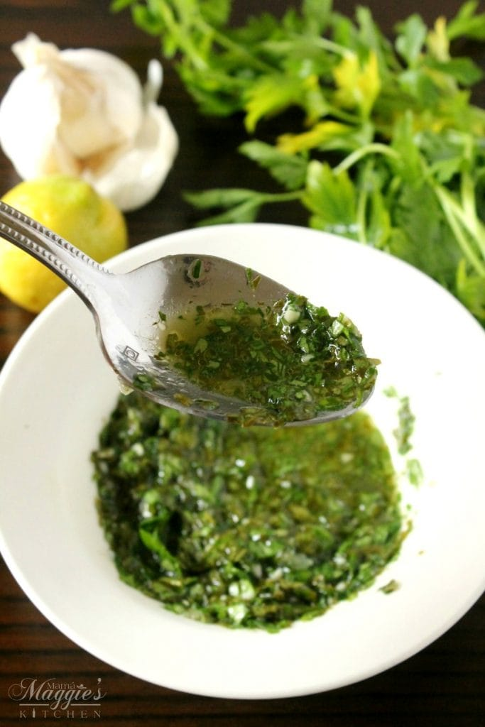 Chimichurri sauce is the perfect sauce for any meat - chicken, beef, sausages, fish. You name it! It's delicious! by Mama Maggie's Kitchen