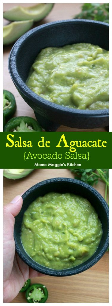 Hand holding a bowl of Salsa de Aguacate, or Avocado Salsa, surrounded by jalapeno slices and avocado wedges