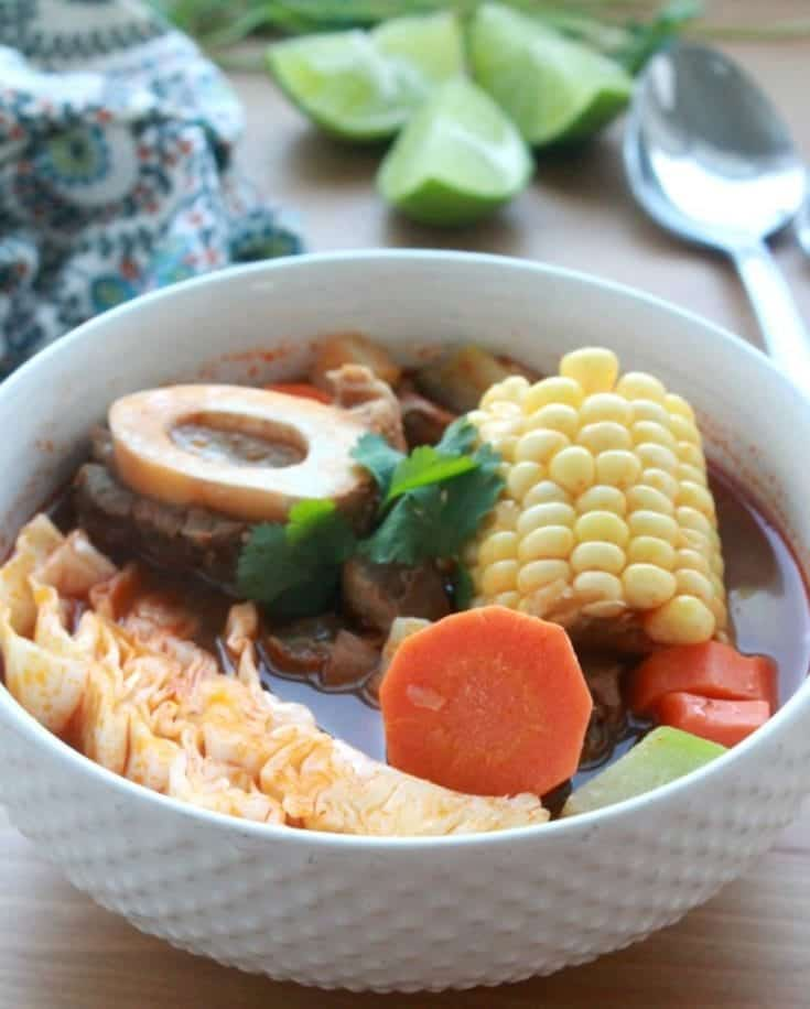Caldo de Res, or Mexican Beef Soup, is a traditional Mexican dish made with beef shanks and loaded with vegetables. Hearty and extremely satisfying, this recipe is a well-loved classic in Mexico. By Mama Maggie's Kitchen #mexicanfood #caldo #sopa #caldo