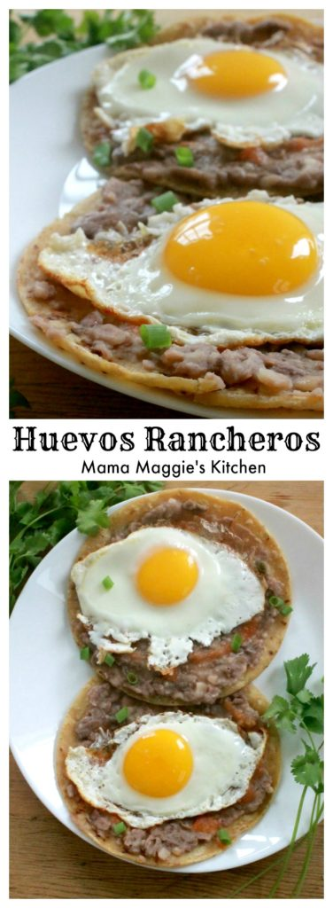 This Authentic Mexican Breakfast Recipe for Huevos Rancheros is a great way to start your day. Sunday brunch or just because, this dish will hit the spot. By Mama Maggie's Kitchen