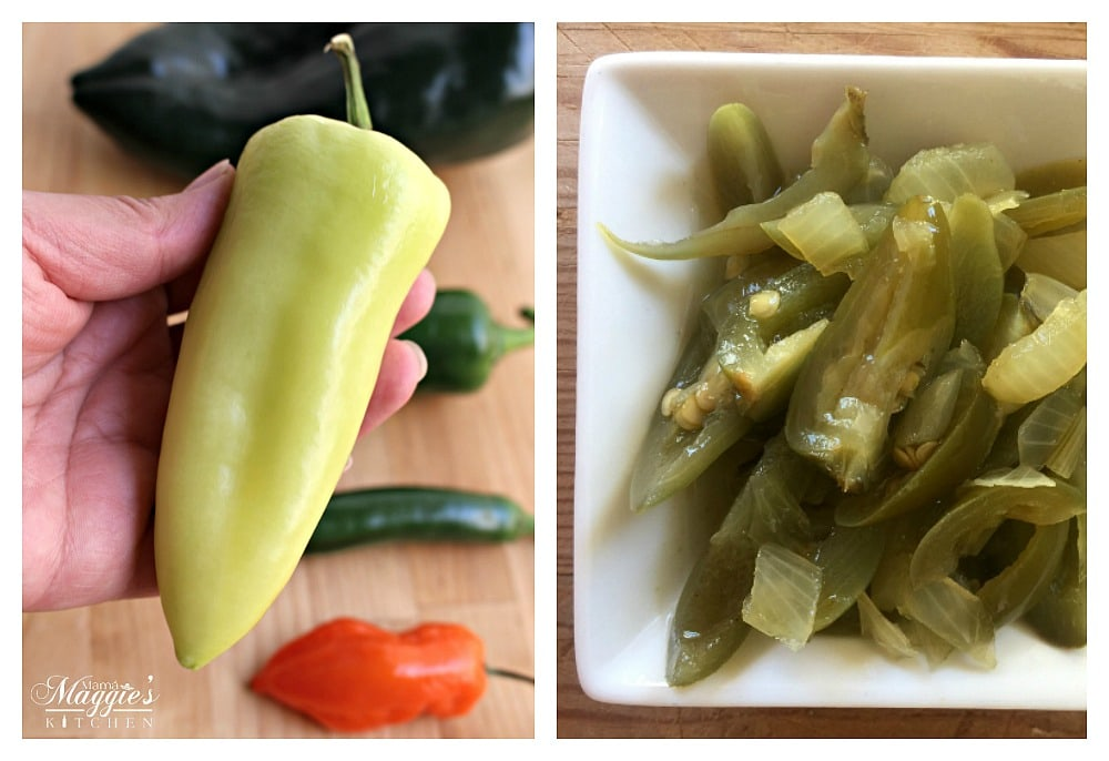 A collage of Chile Guero next to pickled jalapenos