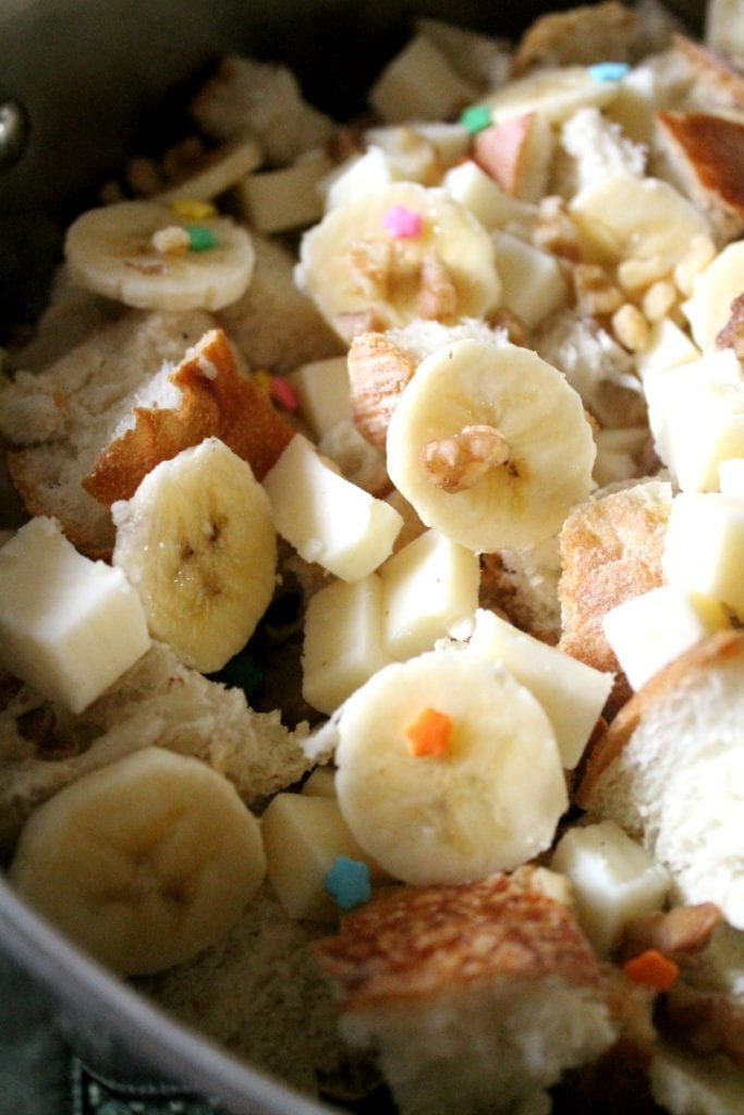 Capirotada is a traditional Mexican dish eaten during the Lenten season. This Mexican Bread Pudding makes a yummy dessert filled with fruit and nuts. By Mama Maggie's Kitchen