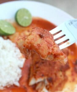 Pescado en Salsa de Chiles (or Fish in Mexican Chili Sauce) is a savory dish that is full of robust flavors. A simple recipe perfect for Lent. By Mama Maggie's Kitchen
