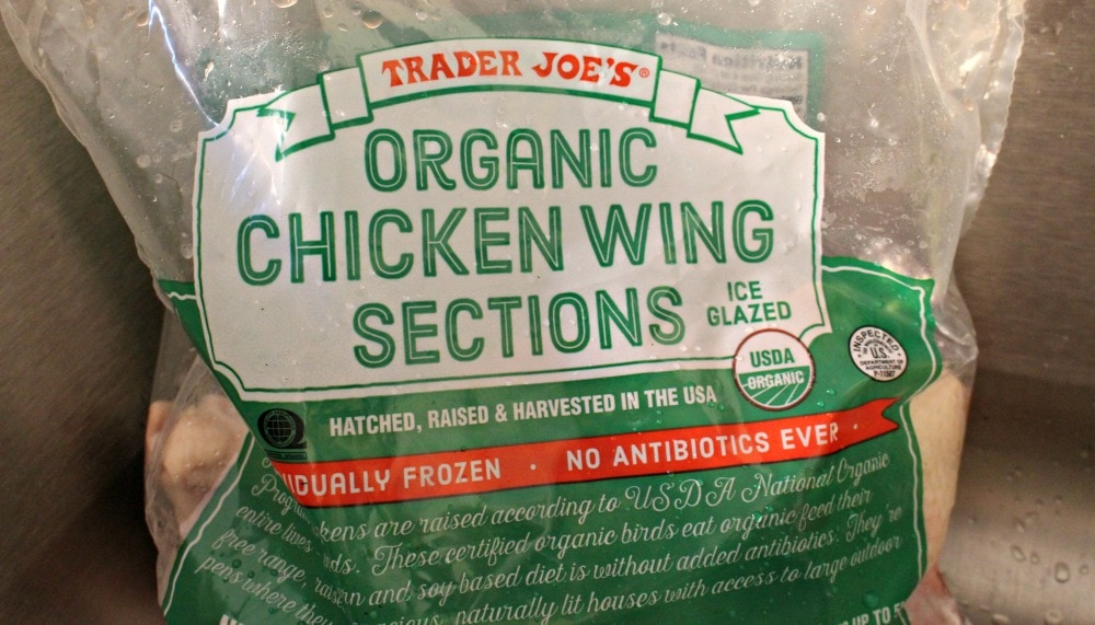 Bag of Trader Joe's Organic Chicken Wing Sections.