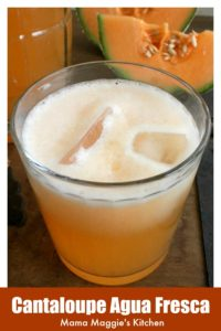Cantaloupe Agua Fresca in a glass.