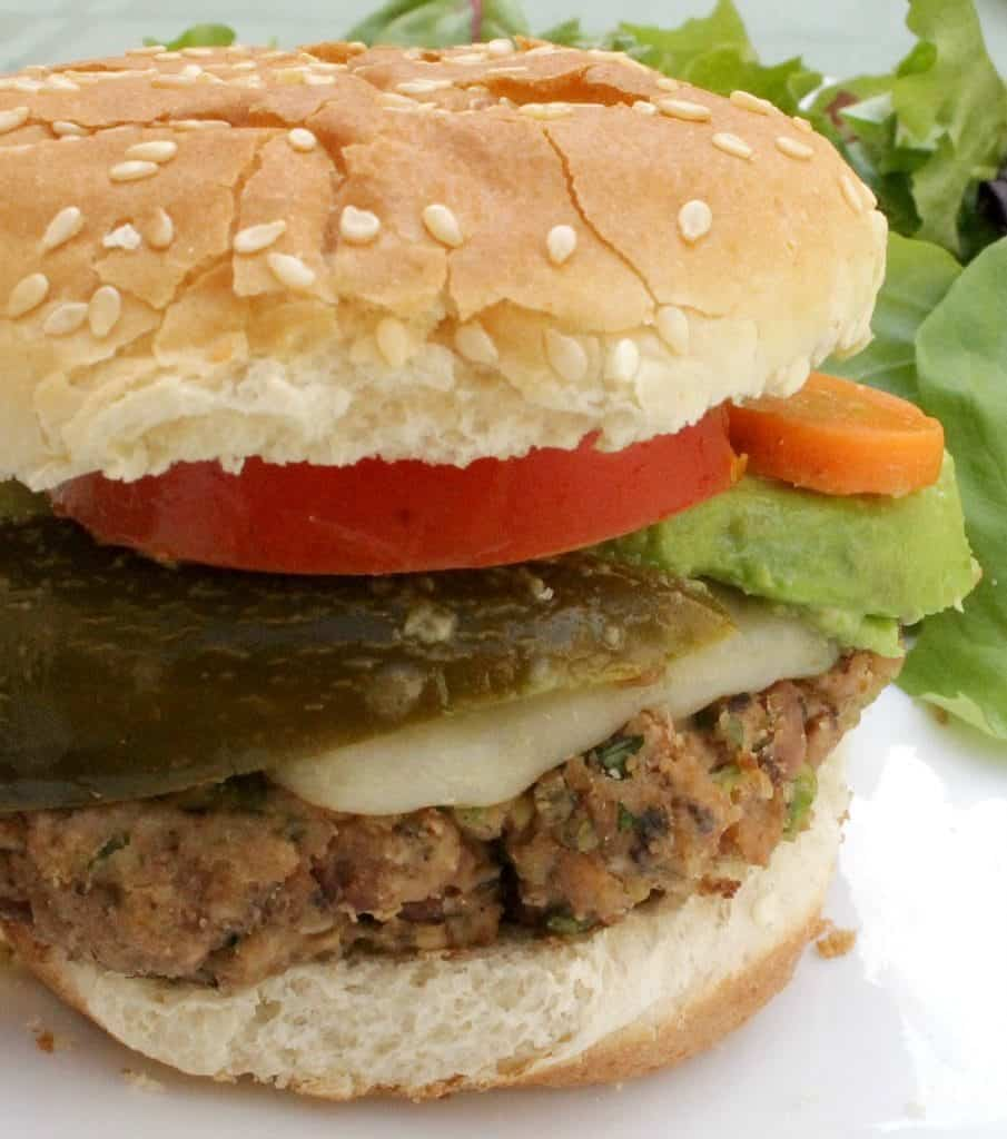 Mexican Veggie Burger - a vegetarian and yummy dish that's perfect for the grill. by Mama Maggie's Kitchen