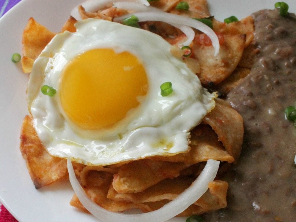 Sunday breakfast never looked better with Chilaquiles Rojos, or Red Chilaquiles. This hearty and delicious Mexican food favorite will make you want to lick your plate clean! By Mama Maggie's Kitchen