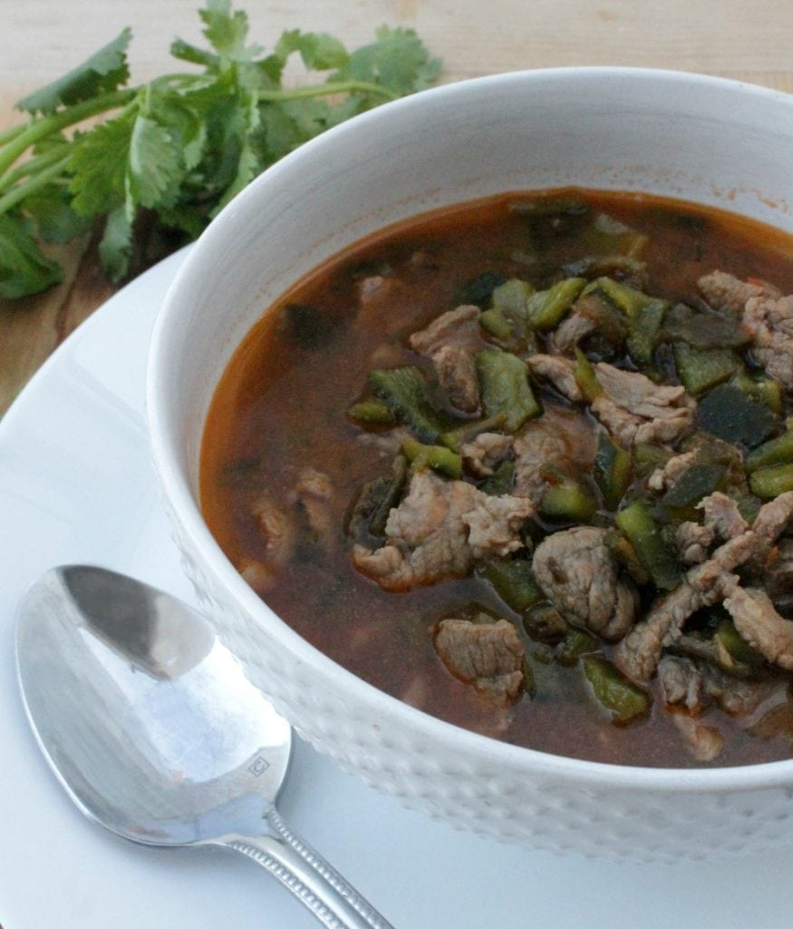 Caldillo Durangueño, a traditional beef stew from Durango, Mexico. Deep, robust, and full of delicious chile flavors. via @MamaMaggiesKitchen
