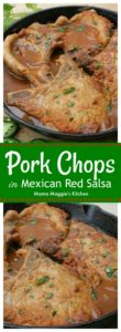 Pork Chops in Mexican Red Salsa, or Chuletas en Salsa Roja, is a hearty and yummy dish that is great for busy weeknights. Via @MamaMaggiesKitchen