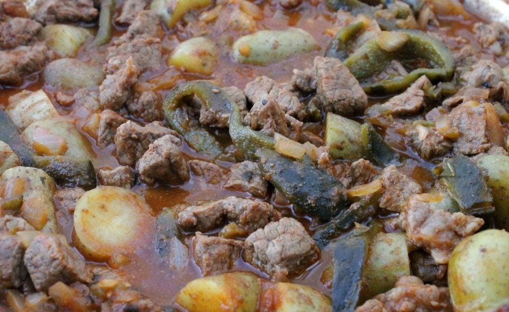 Beef with Roasted Poblano Chile and Potatoes, or Carne de Res con Rajas y Papas, is a classic Mexican recipe. This dish makes a yummy and flavorful weeknight meals. By Mama Maggie's Kitchen