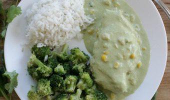 Chicken in Creamy Poblano Sauce (or Pollo en Crema de Chile Poblano)