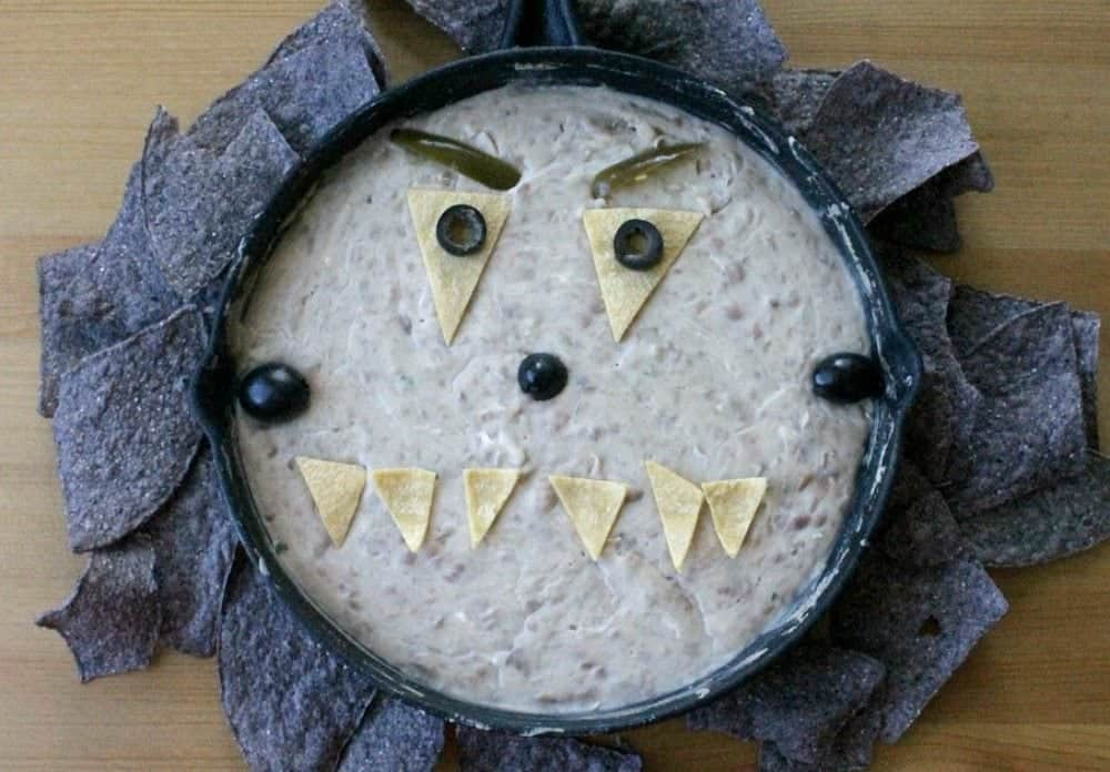 Monster Bean Dip makes a fun Halloween appetizer for easy entertaining by Mama Maggie's Kitchen