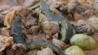 Beef with Roasted Poblano Chile and Potatoes (or Carne de Res con Rajas y Papas)