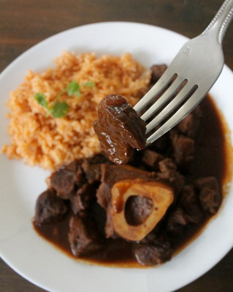 Braised Chile Colorado Beef Shanks (or Chamorros con Chile Colorado) is a robust and rich in flavor dish. This is Mexican recipe destined to be one of your family favorites. By Mama Maggie's Kitchen