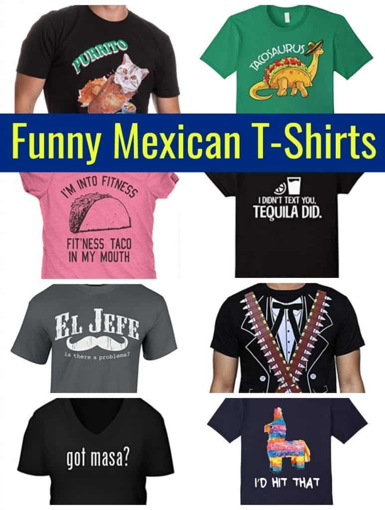 A collage of funny Mexican T-Shirts
