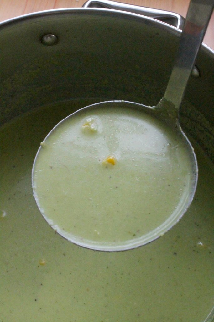 Roasted Poblano and Corn Soup is delicious, rich, and deeply satisfying. Instead of a pot of gold, this a big pot of yummy green. Hope you enjoy! By Mama Maggie's Kitchen