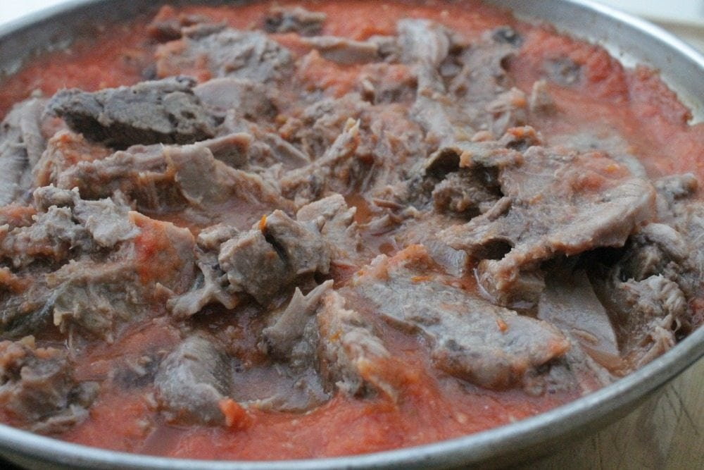 Beef Tongue in Roasted Mexican Salsa, or Lengua en Salsa Asada is a bold and flavorful dish. So tender and so delicious. Add some tortillas, Mexican rice, and enjoy! By Mama Maggie's Kitchen