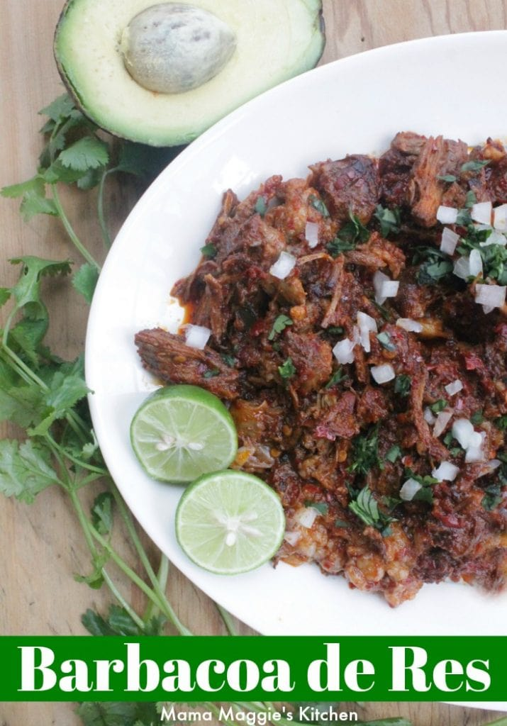 Barbacoa de Res (or Beef Barbacoa) tastes out of this world. With strong, bold flavors and meat that has been cooking for hours. Serve with tortillas, onions, avocado, and lime. Enjoy! By Mama Maggie's Kitchen