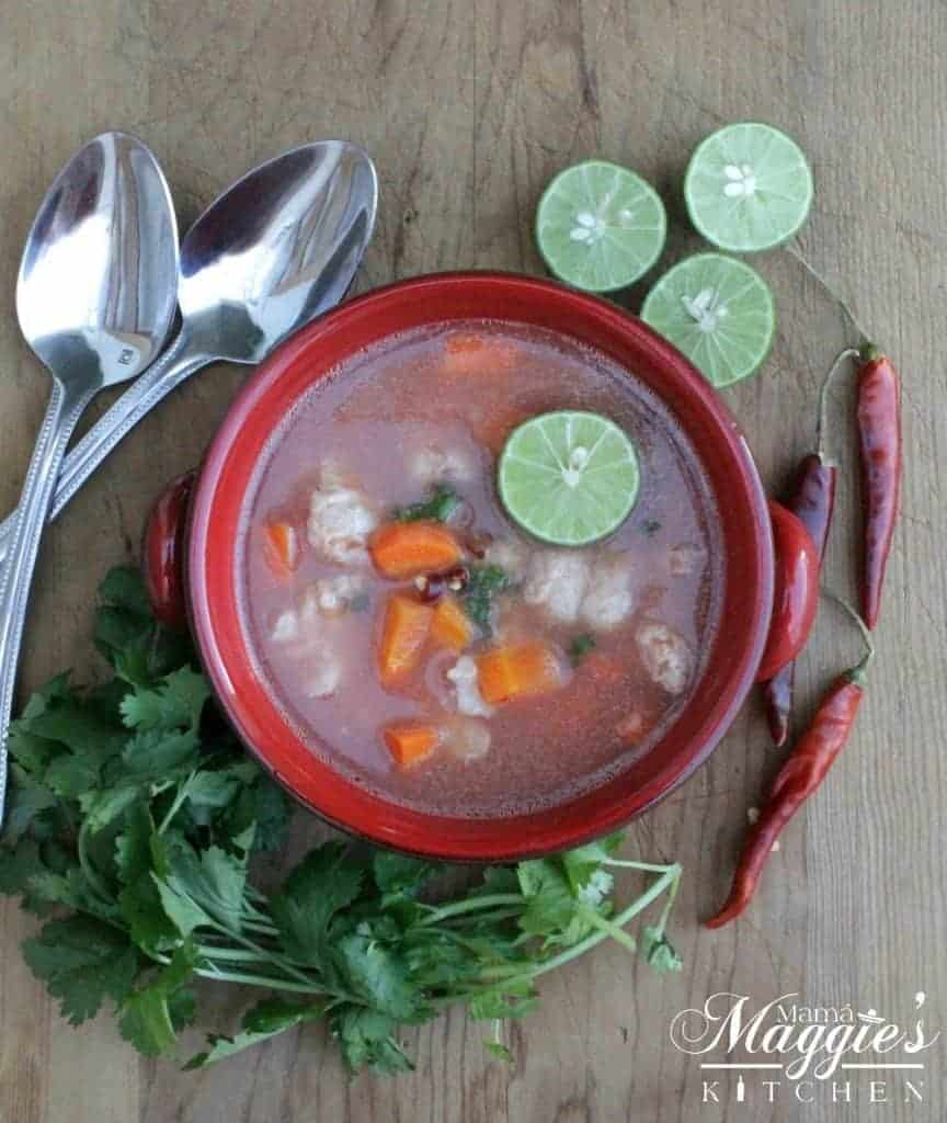 Mexican Fish Soup, or Caldo de Pescado is quick, easy, and absolutely delicious. Made in a rich broth and low in fat, it's hard not to love a big bowl of this comforting soup. By Mama Maggie's Kitchen