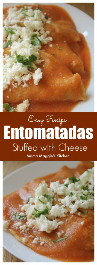 Entomatadas is an easy-to-make and tasty Mexican recipe. It consists of fried tortillas dipped in red salsa. Delicious!
