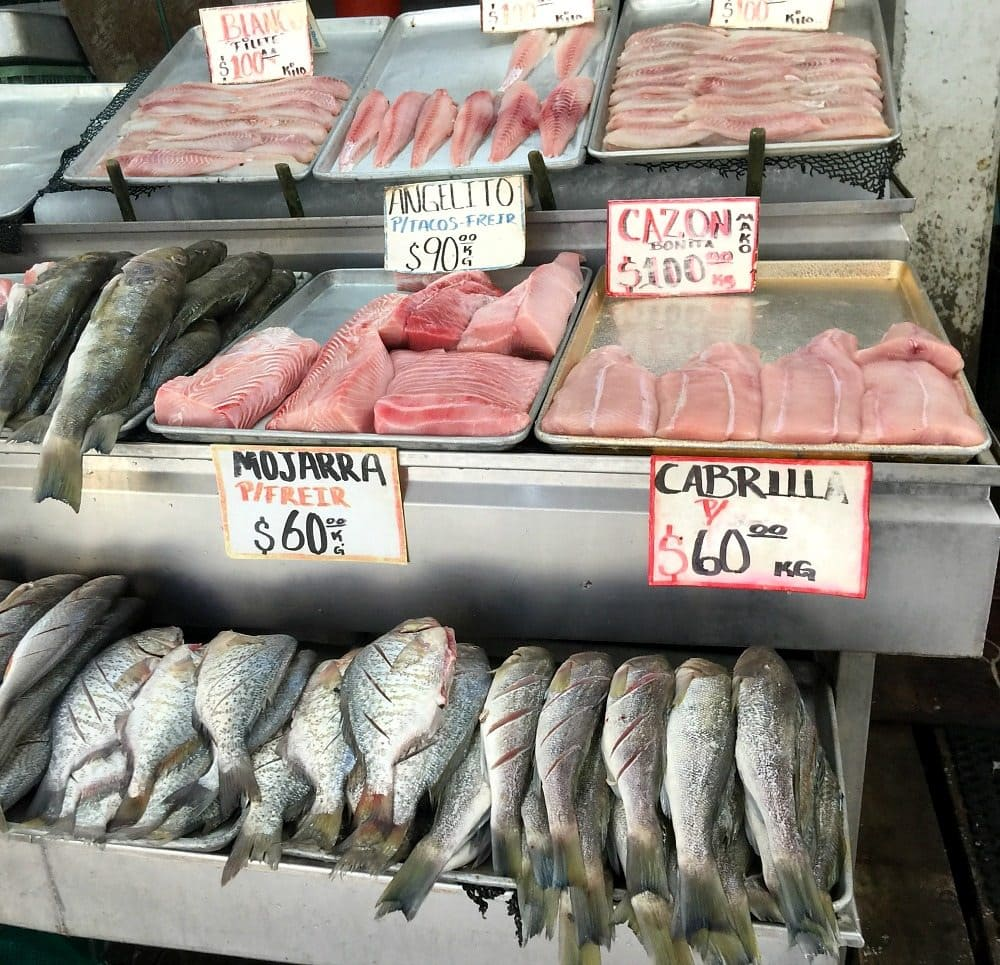 A picture of fresh fish being sold at the Mercado Negro in Ensenada, Mexico.