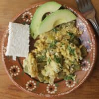 Nopales con Huevo (Cactus with Eggs) is an easy and healthy breakfast. Add tortillas and enjoy this Mexican food favorite. By Mama Maggie's Kitchen