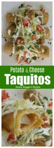 Potato and Cheese Taquitos Recipe. Perfect for game day. A crispy and yummy appetizer that you're sure to love. Serve with your favorite Mexican salsa. Enjoy! by Mama Maggie's Kitchen