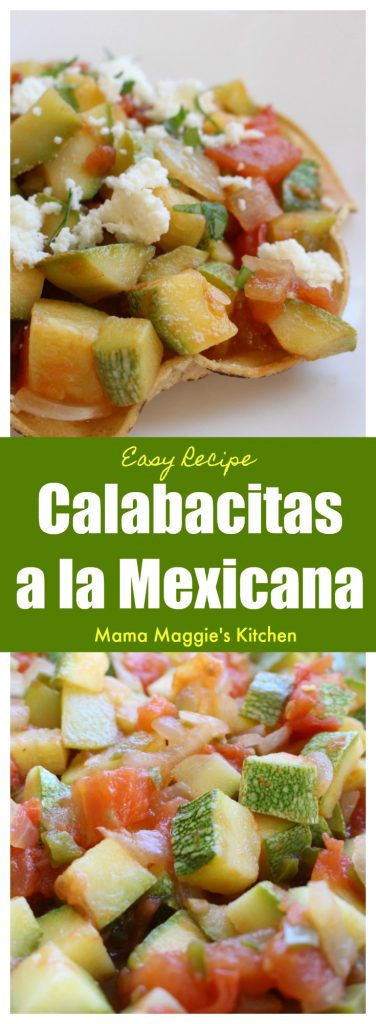 Calabacitas a la Mexicana is a yummy dish that goes perfectly on top of a tostada or as a taco filling. It is ready to be enjoyed in minutes and doesn't break the bank. Serve with refried beans and rice. by Mama Maggie's Kitchen