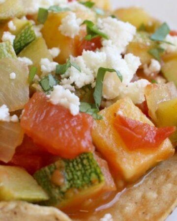 Calabacitas a la Mexicana on a crunch tostada