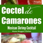 Coctel de Camaron, Mexican Shrimp Cocktail. Pink shrimp and avocado slices in a tomato sauce.