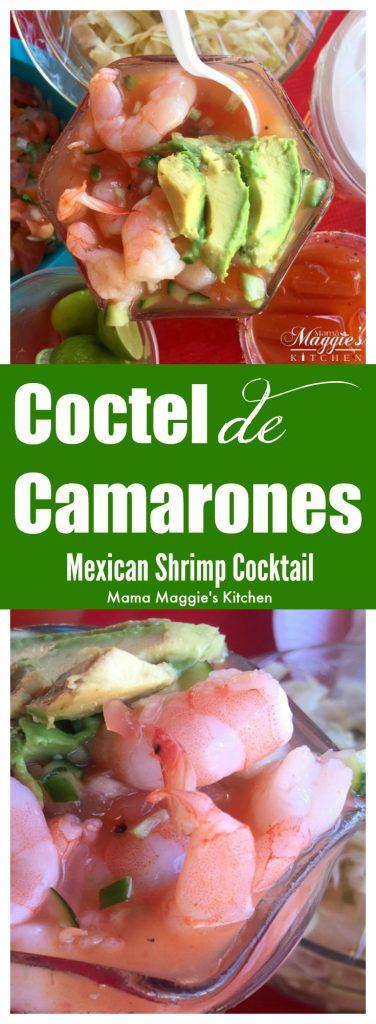 Coctel de Camaron, Mexican Shrimp Cocktail. Pink shrimp and avocado slices in a tomato sauce.