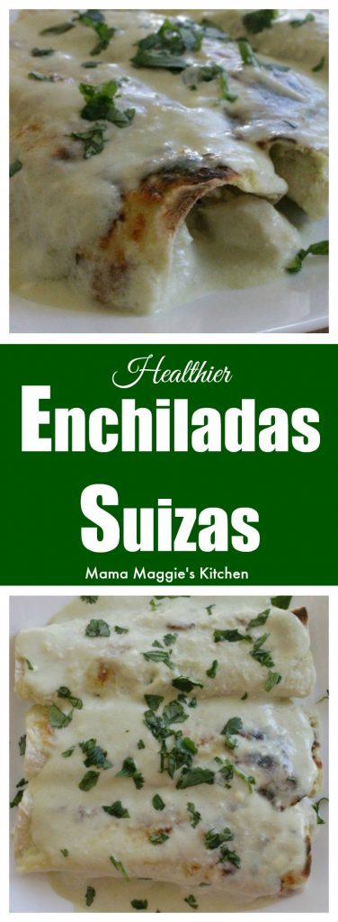 """These """"Healthier"""" Enchiladas Suizas are creamy and perfect for weeknight meals. By not frying the tortillas, you significantly cut the calories but won't miss the deliciousness. by Mama Maggie's Kitchen"""