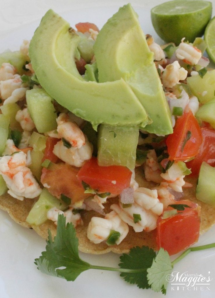 Shrimp Ceviche on a Tostada, or Ceviche de Camaron