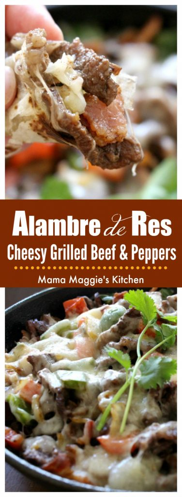 Alambre de Res is made of grilled beef, bacon, bell peppers and topped with cheese. Delicious Mexican street food and easy-to-make at home. by Mama Maggie's Kitchen