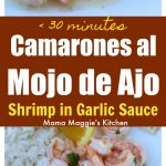 Camarones al Mojo de Ajo is a yummy and traditional Mexican recipe made with succulent shrimp in a butter garlic sauce. It's so delicious you will want to lick your plate clean. by Mama Maggie's Kitchen