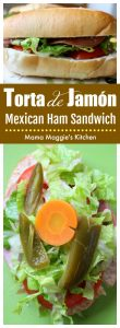 Torta de Jamón is a Mexican Ham Sandwich served on a telera or bolillo. It became a Mexican food classic by the TV show, El Chavo. It's ready in minutes, making it a great lunch option. by Mama Maggie's Kitchen