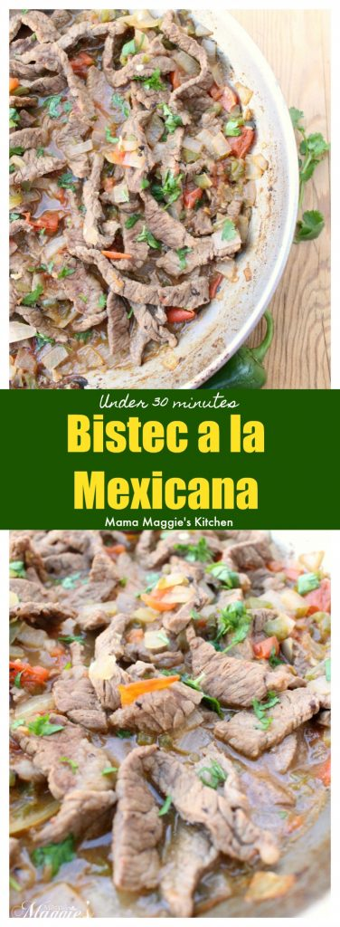 Bistec a la Mexicana is a delicious and savory Mexican dish. It is made of beef in a spicy tomato sauce and ready in under 30 minutes. Typically served with rice, beans, and corn tortillas. by Mama Maggie's Kitchen