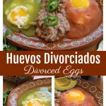 Divorced Eggs or Huevos Divorciados on a decorative Mexican terra cotta clay plate. by Mama Maggie's Kitchen