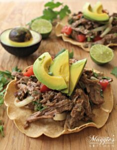 Salpicón de Res is a cold, Mexican beef salad served with a lime-vinegar vinaigrette. Usually served on top of a tostada. It's a great way to use up leftovers and is idea for parties. by Mama Maggie's Kitchen