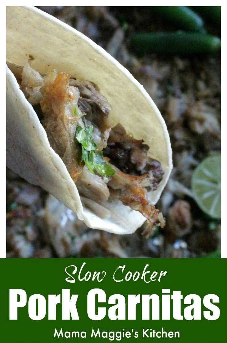 Slow Cooker Pork Carnitas is an easy recipe that involves minimal work and lots of flavor. This Mexican food classic is perfect for entertaining or busy weeknights. Serve with warm tortillas and salsa. by Mama Maggie's Kitchen