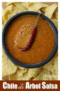 This spicy and tasty Chile de Arbol Salsa is the perfect addition to tacos, tamales, and more. A true Mexican food favorite that adds a flavorful kick. by Mama Maggie's Kitchen