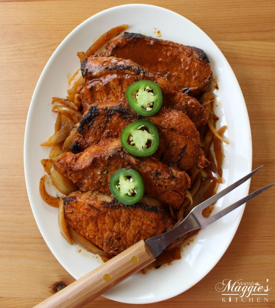 Grilled Pork Chops with Jalapeno Slices