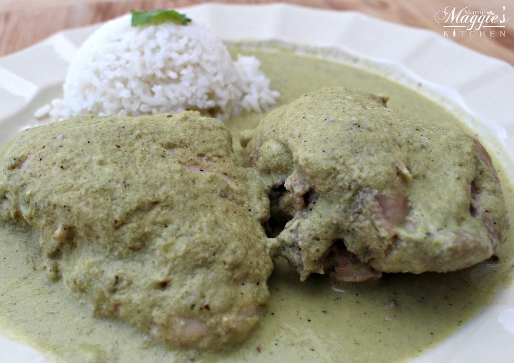 Pipián Verde, or Pumpkin Seed Sauce, with white rice