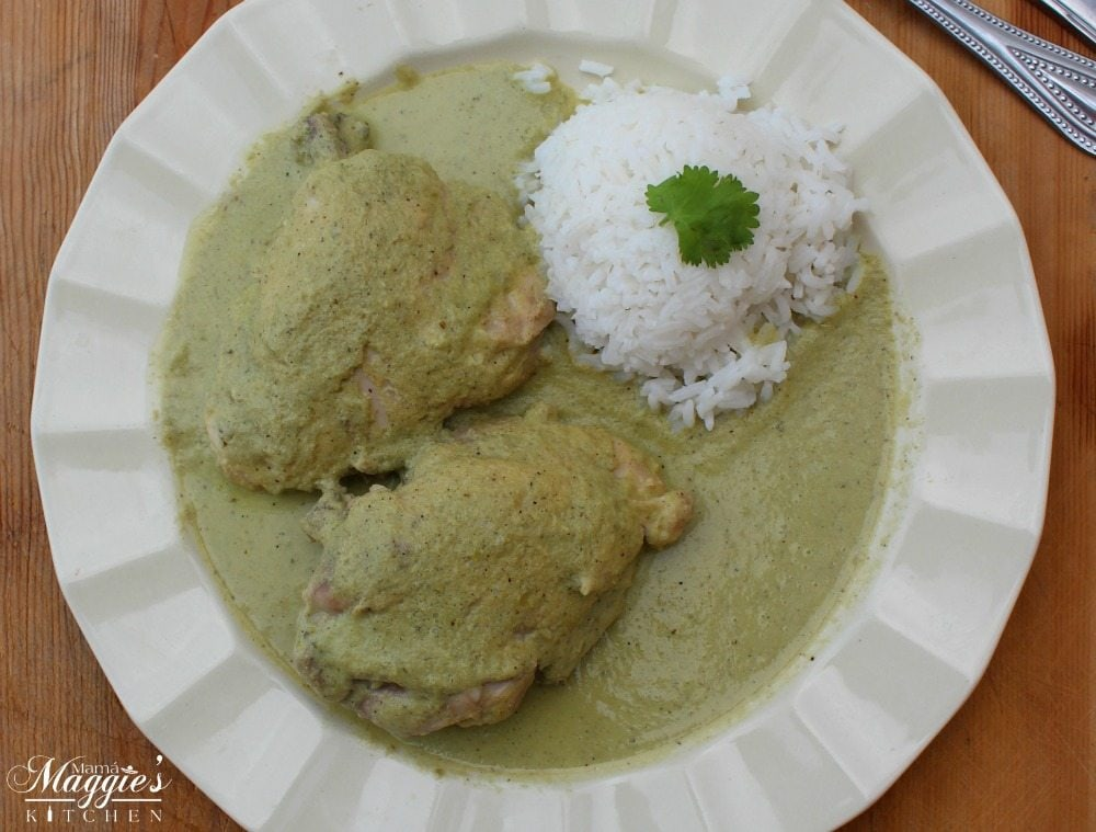 Pipián Verde, or Pumpkin Seed Sauce, with chicken and white rice