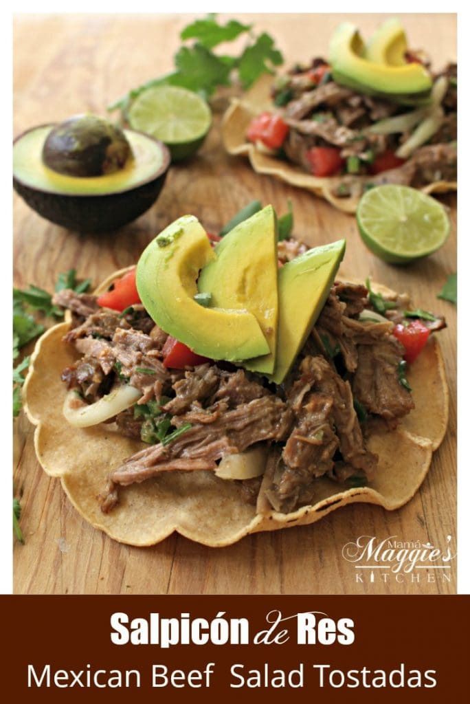 Salpicón de Res is a cold, Mexican beef salad served with a lime-vinegar vinaigrette. Usually served on top of a tostada. It's a great way to use up leftovers and ideal for parties. by Mama Maggie's Kitchen