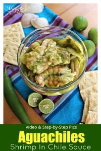 Aguachiles, or shrimp marinated in a spicy green chile sauce. Delicious, light, and full of bold flavors. This Mexican food classic will impress your guests and delight your palate. by Mama Maggie's Kitchen